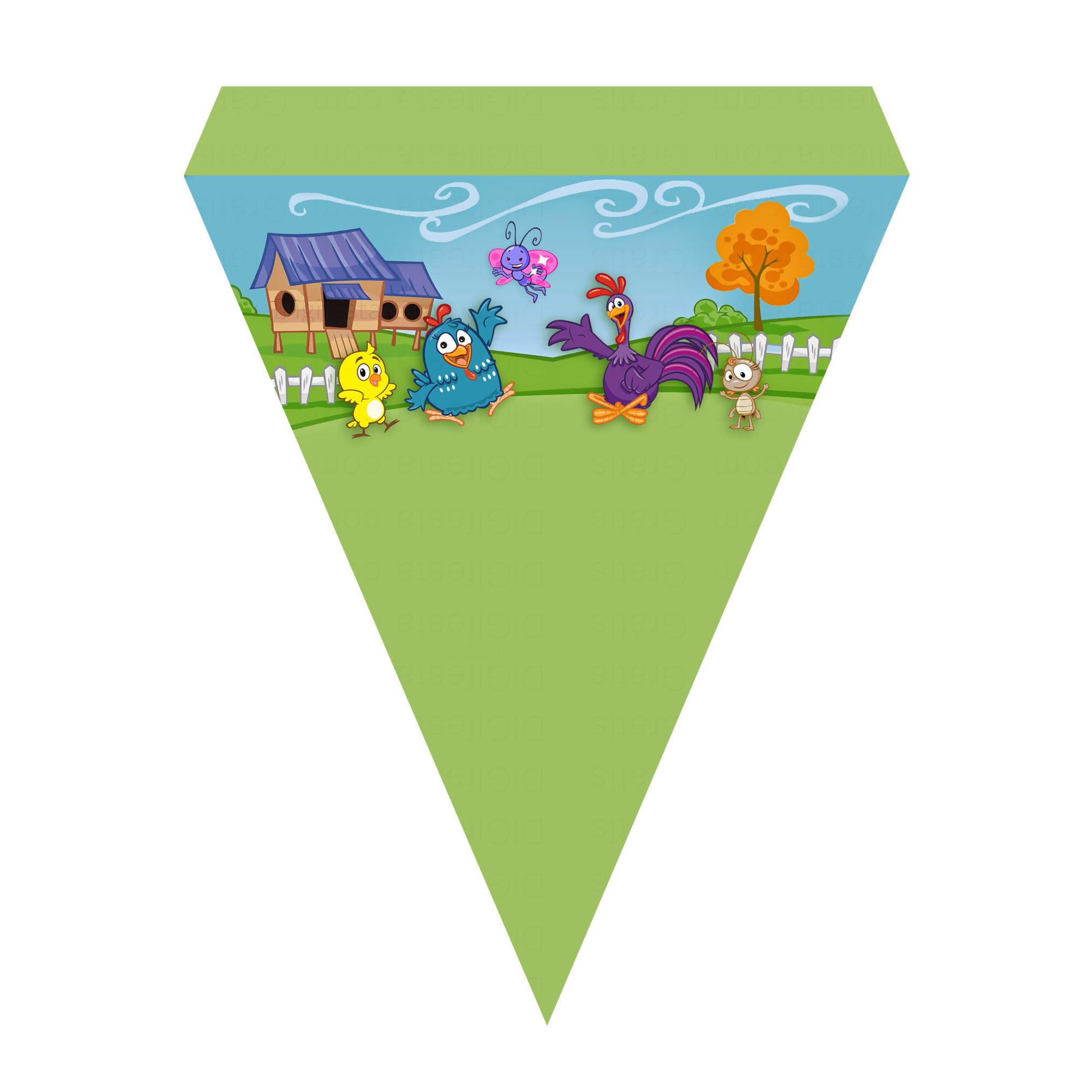 Bandeirinha de Letras Galinha Pintadinha Grátis
