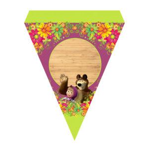 Bandeirinha de Letras Masha e Urso Grátis