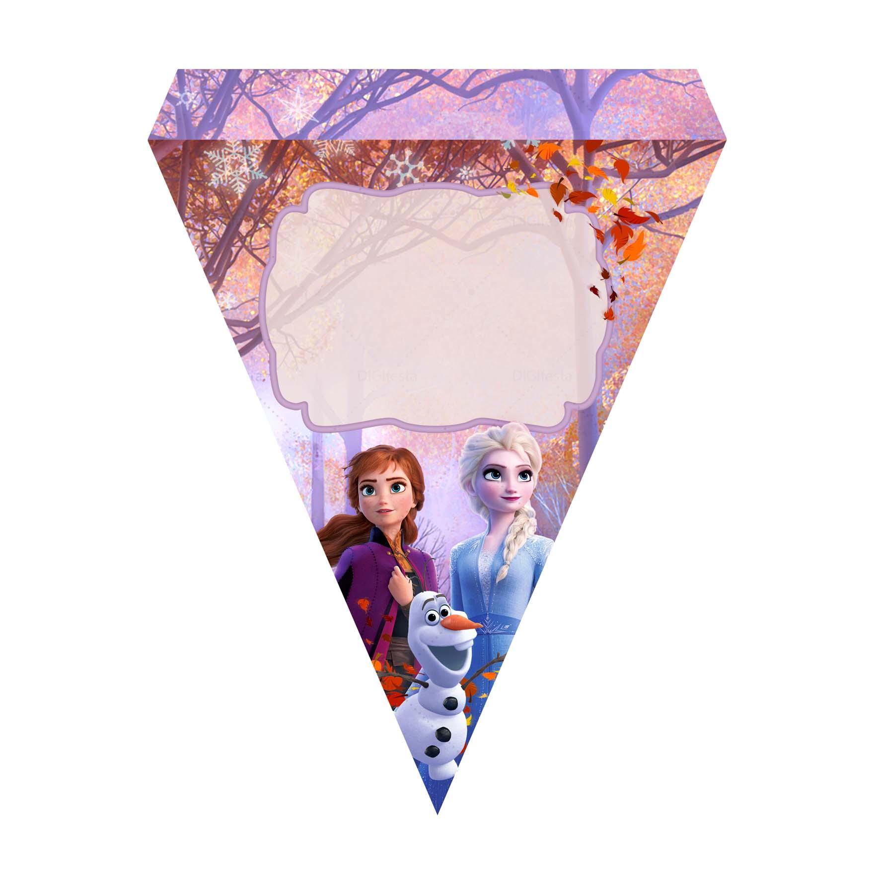 Bandeirinhas de Letras Frozen 2 Grátis