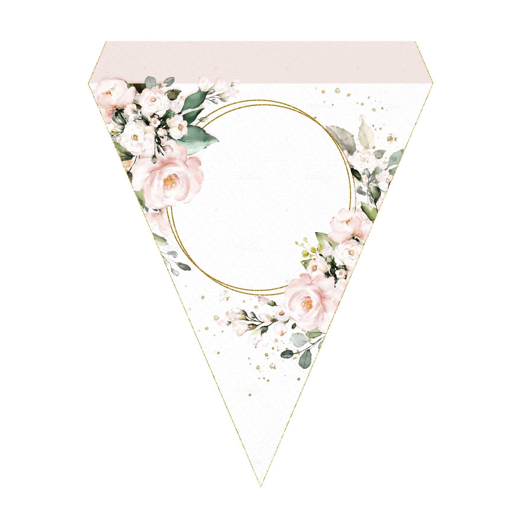 Bandeirinhas de Letras Glitter Floral Grátis