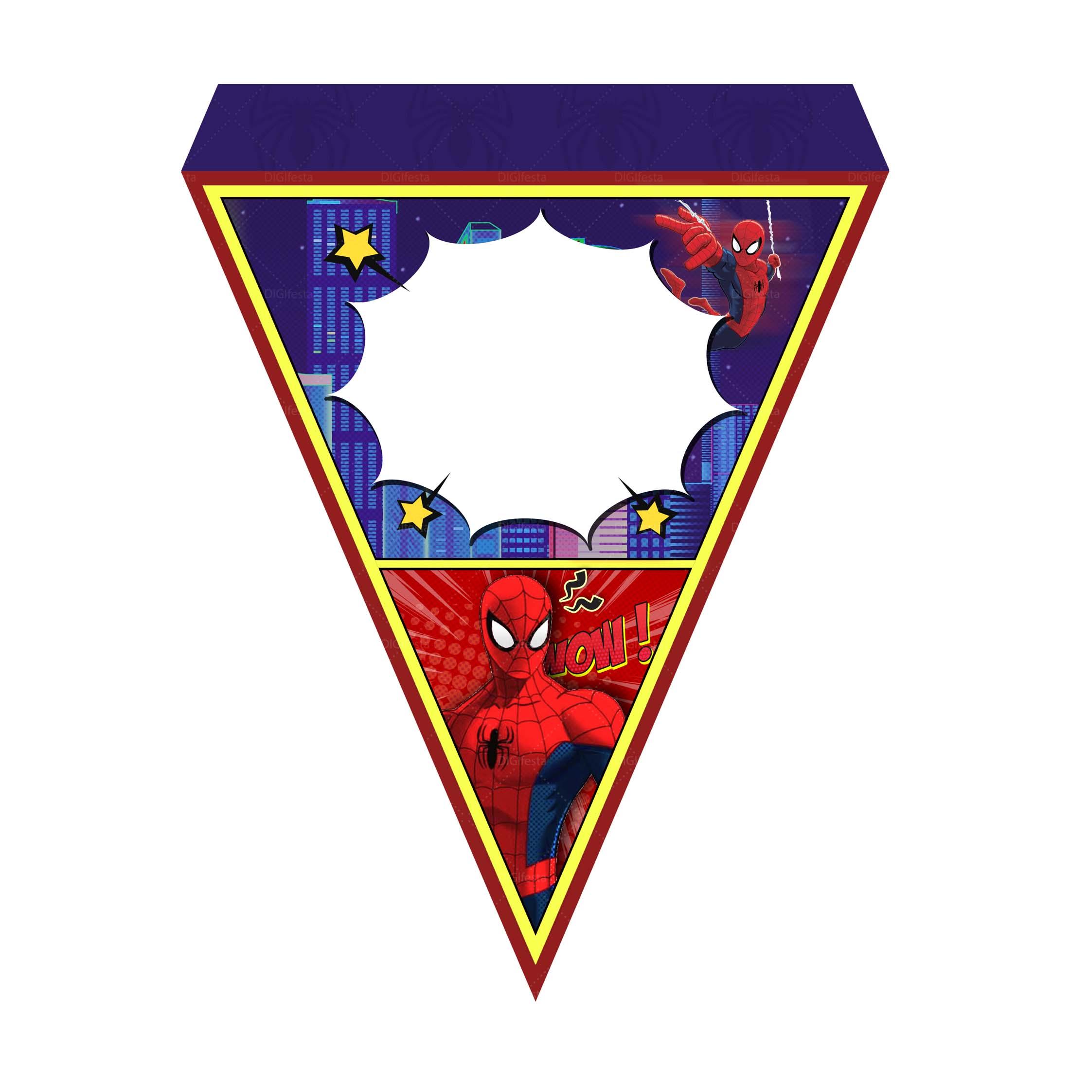 Bandeirinhas de Letras Homem Aranha Grátis