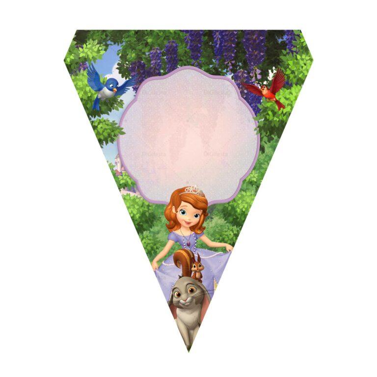 Bandeirinhas de Letras Princesa Sofia Grátis