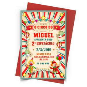 Convite Circo Vermelho Personalizado 2