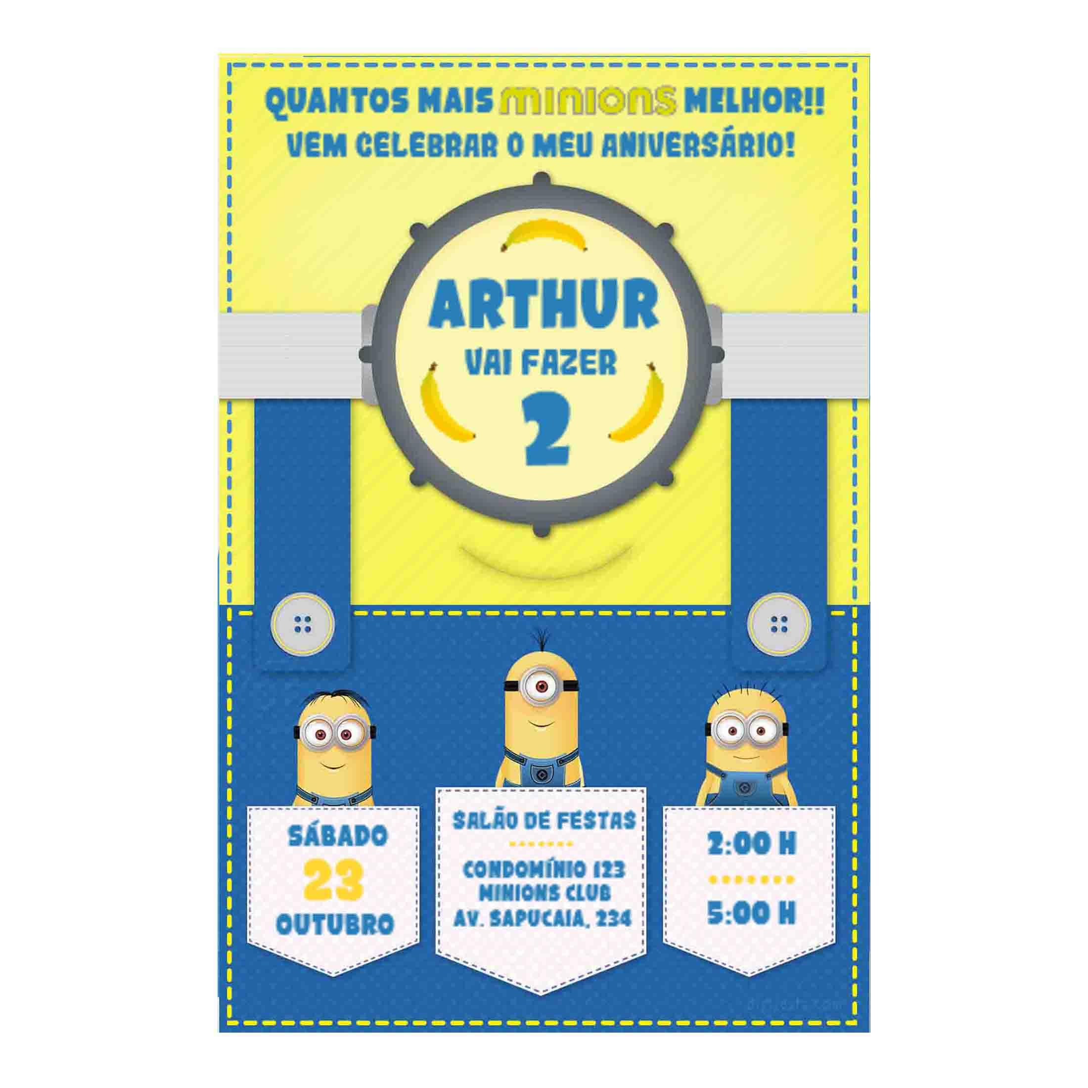 Convite Minions Personalizado