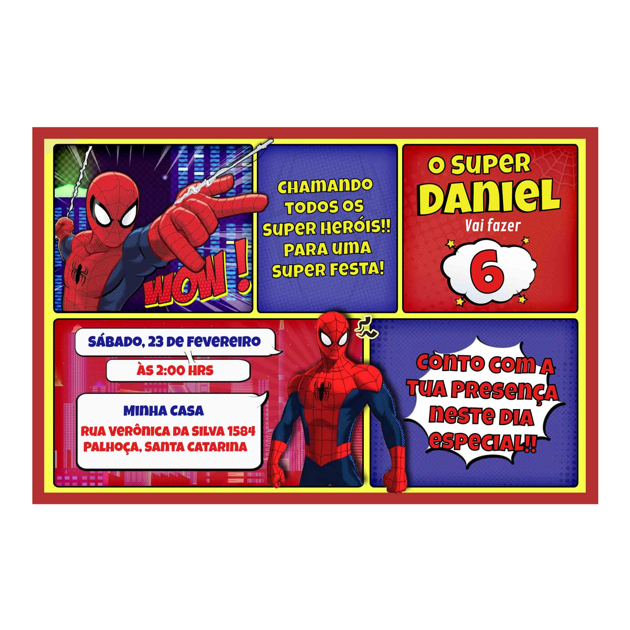 Convite Personalizado Homem-Aranha