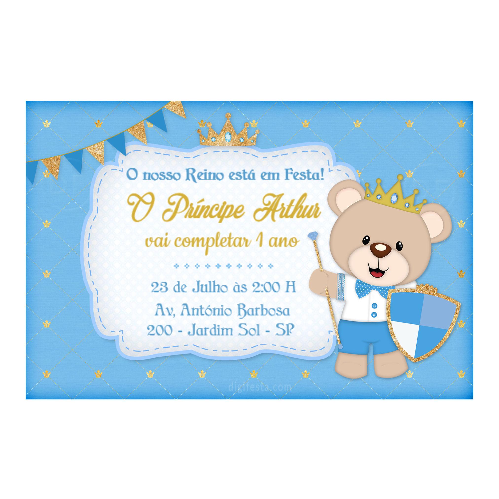 Convite Personalizado Ursinho Príncipe