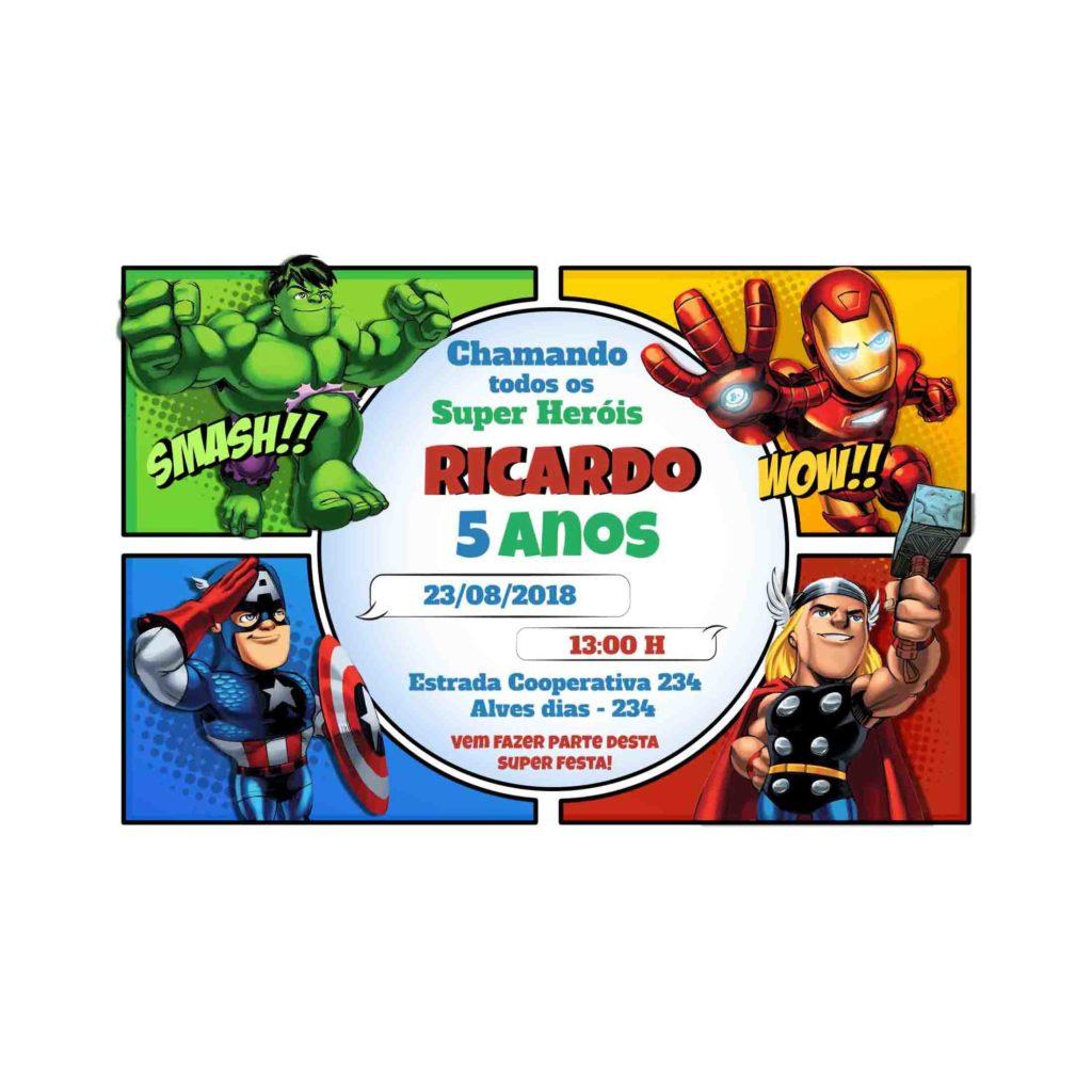 Convite Personalizado Vingadores