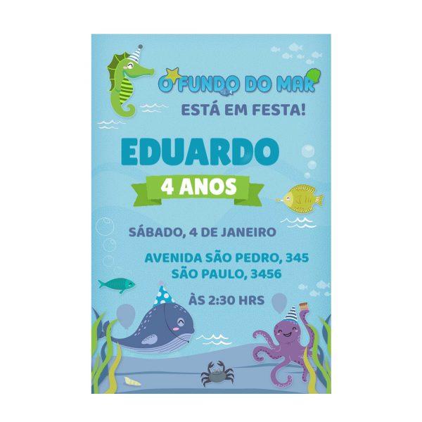 Convite Fundo do Mar Personalizado
