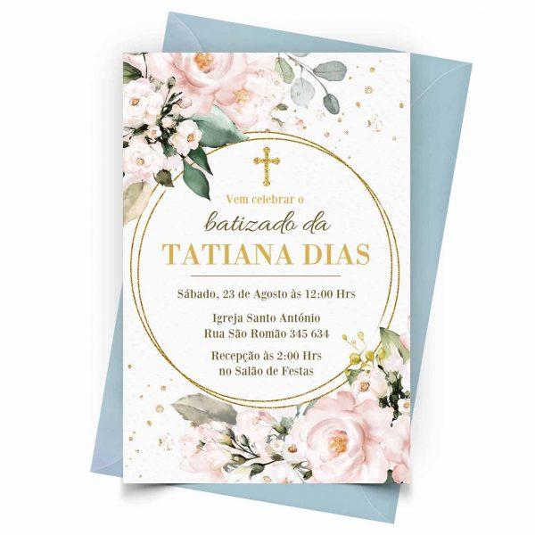 Personalizar Convite Batizado Glitter Flora 1